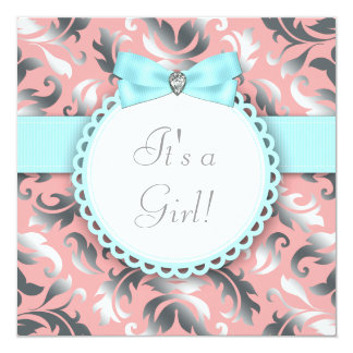 Coral Teal Blue and Gray Baby Shower Personalized Announcement