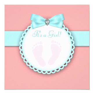 Coral Teal Blue Pink Footprint Baby Shower Card