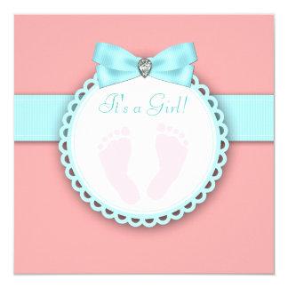 Coral Teal Blue Pink Footprint Baby Shower Card