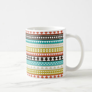 Coral, Teal, Brown Aztec Tribal Pattern Classic White Coffee Mug