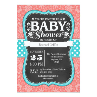 Coral Teal Chalkboard Floral Baby Shower Invite