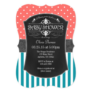 Coral Teal Chalkboard Stripes Baby Shower Invite