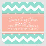 Coral Teal Chevron Baby Shower Favor Stickers
