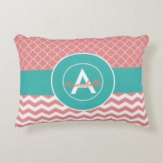 Coral Teal Chevron Quatrefoil Accent Pillow