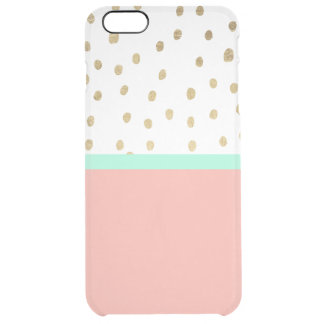 Coral teal color block gold foil polka dots clear iPhone 6 plus case