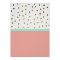 Coral teal color block gold foil polka dots poster