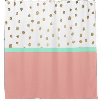 Turquoise Gold Shower Curtains | Zazzle