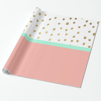 Coral teal color block gold foil polka dots wrapping paper