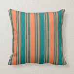 [ Thumbnail: Coral & Teal Colored Pattern Throw Pillow ]