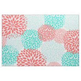 Coral Teal dahlias, modern floral print Fabric