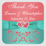 """Coral, Teal Floral, Heart 1.5"""" Sq. Wedding Favor Square Stickers"""