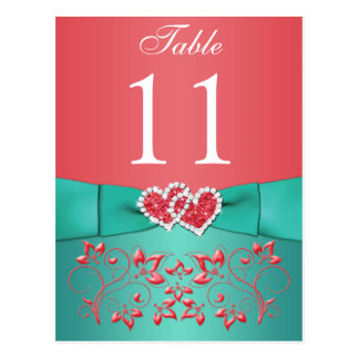 Coral, Teal Floral, Hearts Table Number Post Card