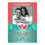 Coral, Teal Floral Joined Hearts PHOTO Invitation