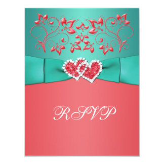 Coral, Teal Floral Joined Hearts RSVP Card