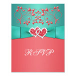 Coral, Teal Floral Joined Hearts RSVP Card Invite