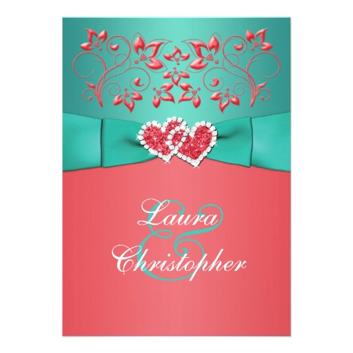 Coral Teal Floral Joined Hearts Wedding Invitation Zazzle