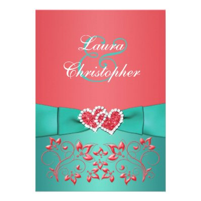 Coral Teal Floral Joined Hearts Wedding Invite 2