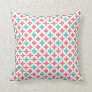 Coral Teal Geometric Pattern Decorative Pillow