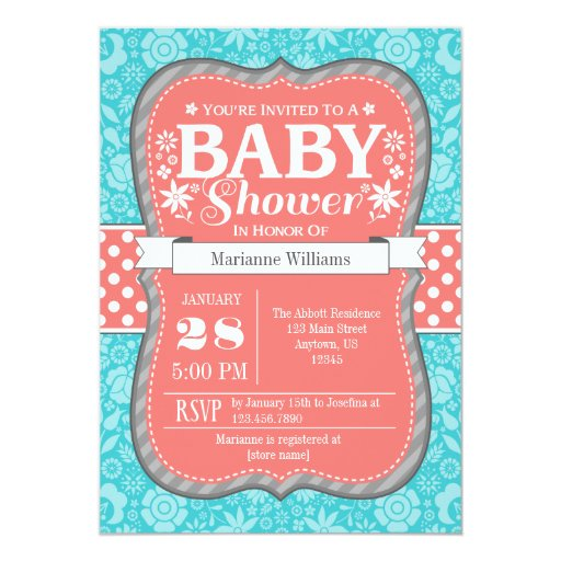 Coral Teal Gray Floral Flower Baby Shower Invite   Zazzle