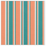 [ Thumbnail: Coral, Teal & Light Cyan Colored Lined Pattern Fabric ]