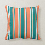 [ Thumbnail: Coral, Teal & Light Cyan Colored Lined Pattern Throw Pillow ]
