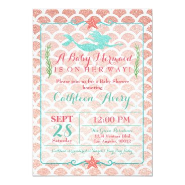 Toddler & Baby themed Coral & Teal Mermaid Baby Shower Invitation