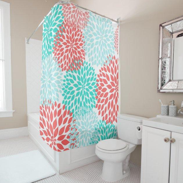 Coral Bathroom Ideas: Coral Teal Seafoam Floral Bathroom Decor, Shower Curtain