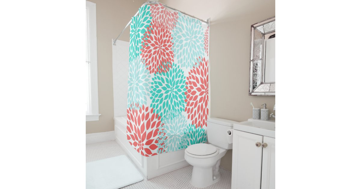 Coral Teal Seafoam Floral Bathroom Decor Shower Curtain Zazzle Com