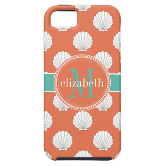 Coral Teal White Clamshells Seashells Monogram iPhone SE/5/5s Case