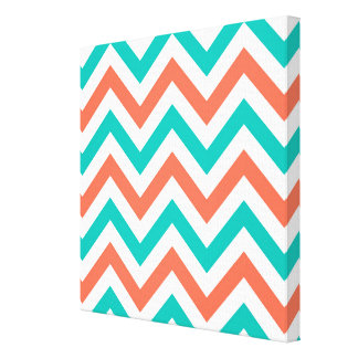 Coral, Teal, White Large Chevron ZigZag Pattern Canvas Print