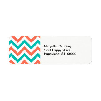 Coral, Teal, White Large Chevron ZigZag Pattern Return Address Label