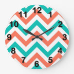 Coral, Teal, White Large Chevron ZigZag Pattern Large Clock