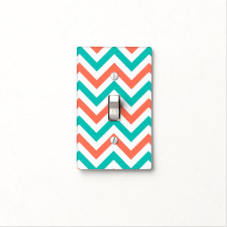 Coral, Teal, White Large Chevron ZigZag Pattern Light Switch Cover