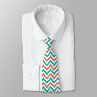 Coral, Teal, White Large Chevron ZigZag Pattern Neck Tie