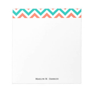 Coral, Teal, White Large Chevron ZigZag Pattern Memo Notepads