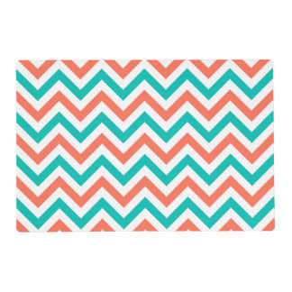 Coral, Teal, White Large Chevron ZigZag Pattern Placemat