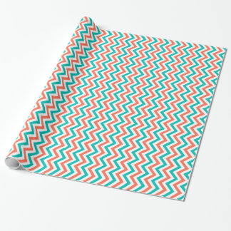 Coral, Teal, White Large Chevron ZigZag Pattern Wrapping Paper