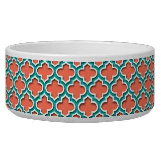 Coral Teal White Moroccan Quatrefoil #5DS Bowl