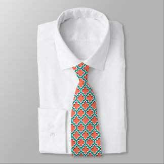 Coral Teal White Moroccan Quatrefoil #5DS Tie