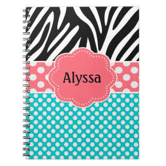 Coral Teal Zebra Personalized Spiral Note Books