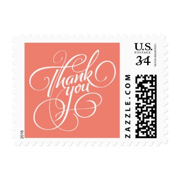 Christmas Themed Coral Thank You Postage Stamp