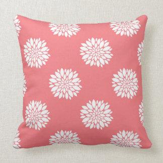 Coral Throw Pillow with white dahlias