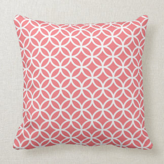 Coral Throw Pillow with white overlapping circles