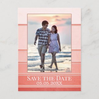 Coral Ton sur Ton Striped Photo Save the Date Announcement Postcard