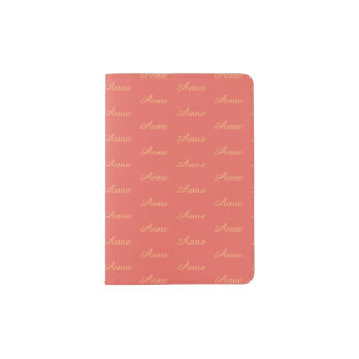 coral travel passport cover with name pattern