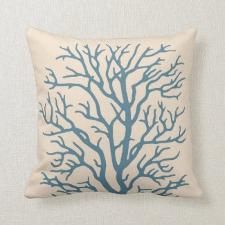 Coral Tree in Beach Teal Pillow