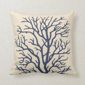 Coral Tree in Cream on Dark Navy Blue 2 Throw Pillows