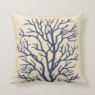 coral tree in cream on dark navy blue 2 throw pillow