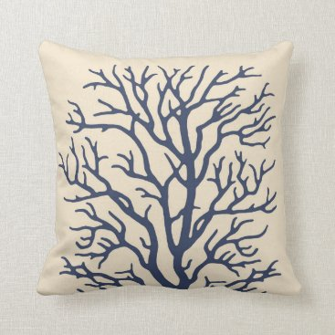 Beach Themed Coral Tree in Cream on Dark Navy Blue 2 Throw Pillow