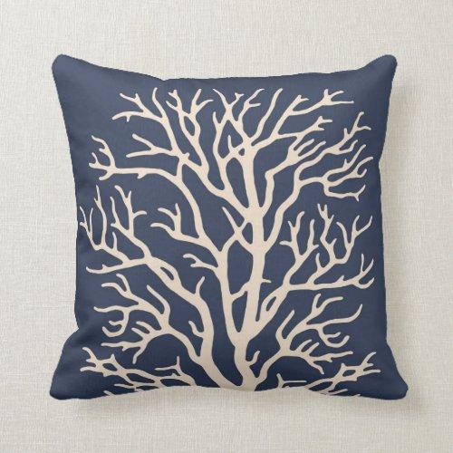 Coral Tree in Cream on Dark Navy Blue Throw Pillow